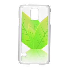 Leaves Green Nature Reflection Samsung Galaxy S5 Case (white) by Nexatart