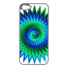 Star 3d Gradient Blue Green Apple Iphone 5 Case (silver)