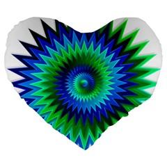 Star 3d Gradient Blue Green Large 19  Premium Heart Shape Cushions by Nexatart