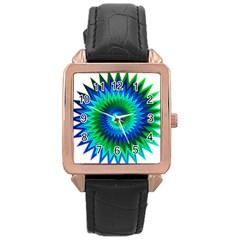 Star 3d Gradient Blue Green Rose Gold Leather Watch  by Nexatart