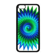 Star 3d Gradient Blue Green Apple Iphone 5c Seamless Case (black) by Nexatart