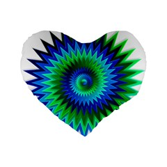 Star 3d Gradient Blue Green Standard 16  Premium Flano Heart Shape Cushions by Nexatart