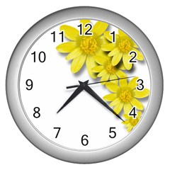 Flowers Spring Yellow Spring Onion Wall Clocks (silver)  by Nexatart