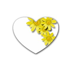 Flowers Spring Yellow Spring Onion Rubber Coaster (heart)  by Nexatart