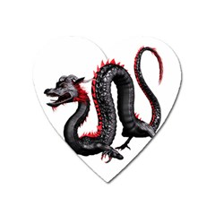 Dragon Black Red China Asian 3d Heart Magnet by Nexatart