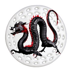Dragon Black Red China Asian 3d Round Filigree Ornament (two Sides) by Nexatart