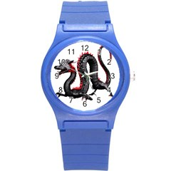 Dragon Black Red China Asian 3d Round Plastic Sport Watch (s) by Nexatart