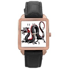Dragon Black Red China Asian 3d Rose Gold Leather Watch  by Nexatart