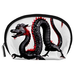 Dragon Black Red China Asian 3d Accessory Pouches (large)  by Nexatart