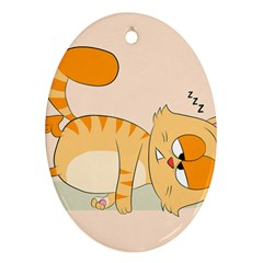 Even Cat Hates Monday Oval Ornament (two Sides) by Catifornia