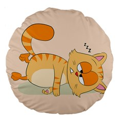 Even Cat Hates Monday Large 18  Premium Flano Round Cushions by Catifornia
