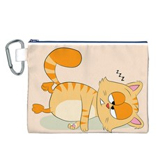 Even Cat Hates Monday Canvas Cosmetic Bag (l) by Catifornia
