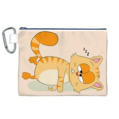 Even Cat Hates Monday Canvas Cosmetic Bag (xl) by Catifornia