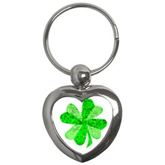 St Patricks Day Shamrock Green Key Chains (heart)  by Nexatart