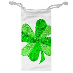 St Patricks Day Shamrock Green Jewelry Bag by Nexatart
