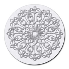 Scrapbook Side Lace Tag Element Round Mousepads by Nexatart