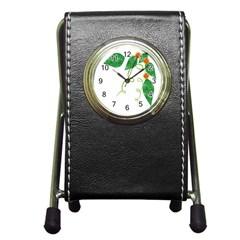 Scrapbook Green Nature Grunge Pen Holder Desk Clocks by Nexatart