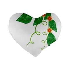 Scrapbook Green Nature Grunge Standard 16  Premium Flano Heart Shape Cushions by Nexatart