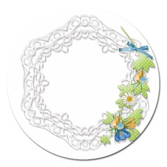 Scrapbook Element Lace Embroidery Magnet 5  (round) by Nexatart