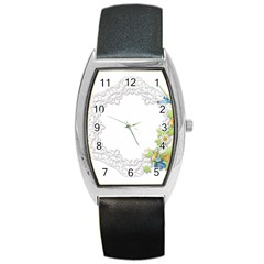 Scrapbook Element Lace Embroidery Barrel Style Metal Watch by Nexatart