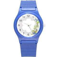 Scrapbook Element Lace Embroidery Round Plastic Sport Watch (s) by Nexatart