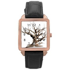 Tree Isolated Dead Plant Weathered Rose Gold Leather Watch  by Nexatart
