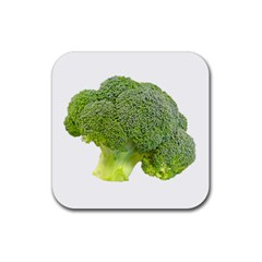 Broccoli Bunch Floret Fresh Food Rubber Square Coaster (4 Pack)  by Nexatart