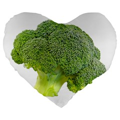 Broccoli Bunch Floret Fresh Food Large 19  Premium Heart Shape Cushions by Nexatart