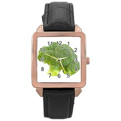 Broccoli Bunch Floret Fresh Food Rose Gold Leather Watch  by Nexatart