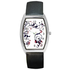 Scroll Border Swirls Abstract Barrel Style Metal Watch by Nexatart