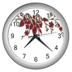 Scrapbook Element Nature Flowers Wall Clocks (silver)  by Nexatart
