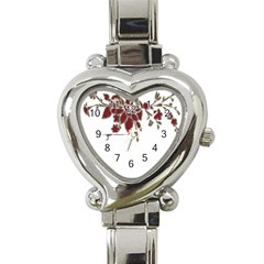 Scrapbook Element Nature Flowers Heart Italian Charm Watch by Nexatart