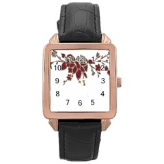 Scrapbook Element Nature Flowers Rose Gold Leather Watch  by Nexatart