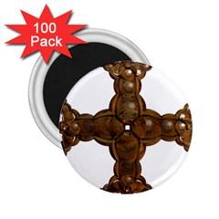 Cross Golden Cross Design 3d 2 25  Magnets (100 Pack)  by Nexatart