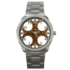Cross Golden Cross Design 3d Sport Metal Watch by Nexatart
