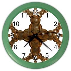 Cross Golden Cross Design 3d Color Wall Clocks by Nexatart