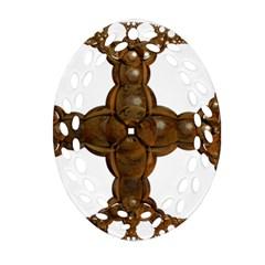 Cross Golden Cross Design 3d Oval Filigree Ornament (two Sides) by Nexatart