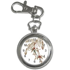Floral Spray Gold And Red Pretty Key Chain Watches by Nexatart