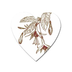 Floral Spray Gold And Red Pretty Heart Magnet by Nexatart