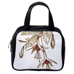Floral Spray Gold And Red Pretty Classic Handbags (one Side) by Nexatart
