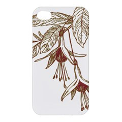 Floral Spray Gold And Red Pretty Apple Iphone 4/4s Hardshell Case by Nexatart
