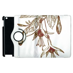Floral Spray Gold And Red Pretty Apple Ipad 2 Flip 360 Case by Nexatart