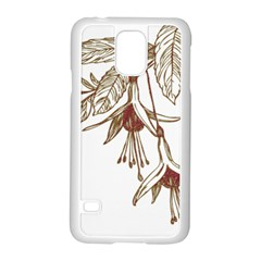 Floral Spray Gold And Red Pretty Samsung Galaxy S5 Case (white) by Nexatart