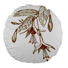 Floral Spray Gold And Red Pretty Large 18  Premium Flano Round Cushions by Nexatart