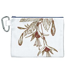 Floral Spray Gold And Red Pretty Canvas Cosmetic Bag (xl) by Nexatart
