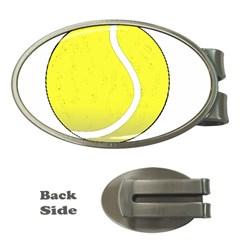 Tennis Ball Ball Sport Fitness Money Clips (oval)  by Nexatart