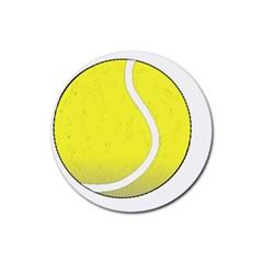 Tennis Ball Ball Sport Fitness Rubber Round Coaster (4 Pack)  by Nexatart