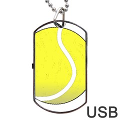 Tennis Ball Ball Sport Fitness Dog Tag Usb Flash (two Sides) by Nexatart