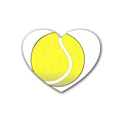 Tennis Ball Ball Sport Fitness Heart Coaster (4 Pack)  by Nexatart