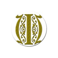 Gold Scroll Design Ornate Ornament Magnet 3  (round) by Nexatart